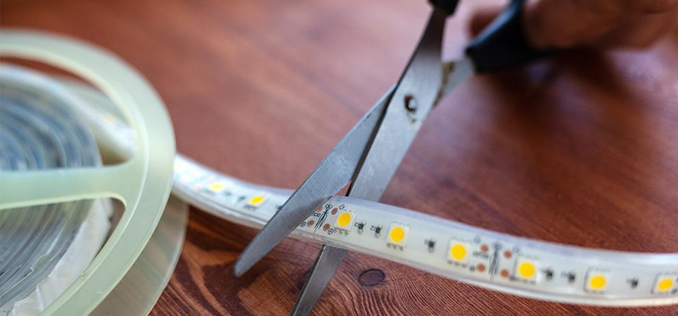 Inkorten van LED strips is heel gemakkelijk