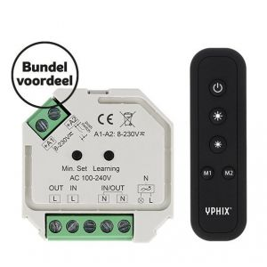 Draadloze LED dimmer 230V complete set incl. 1 zone RF afstandsbediening