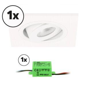 Complete set LED inbouwspot 1x Alba vierkant 3W 2700K wit IP65 dimbaar kantelbaar