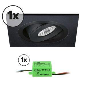Complete set LED inbouwspot 1x Alba vierkant 3W 2700K zwart IP65 dimbaar kantelbaar