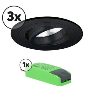 Complete set LED inbouwspot 3x Montella rond 5W 2700K zwart IP65 dimbaar kantelbaar