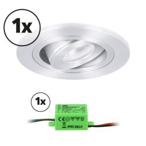 Complete set LED inbouwspot 1x Monza rond 3W 2700K aluminium IP65 dimbaar kantelbaar