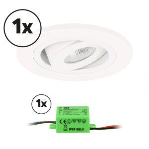 Complete set LED inbouwspot 1x Monza rond 3W 2700K wit IP65 dimbaar kantelbaar