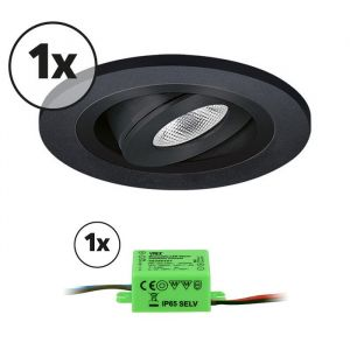 Complete set LED inbouwspot 1x Monza rond 3W 2700K zwart IP65 dimbaar kantelbaar