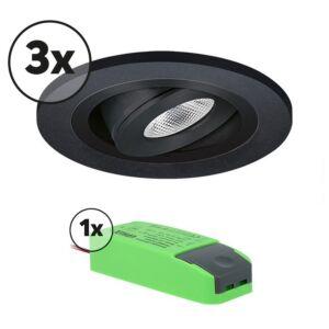 Complete set LED inbouwspot 3x Monza rond 3W 2700K zwart IP65 dimbaar kantelbaar