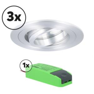 Complete set LED inbouwspot 3x Montella rond 5W 2700K aluminium IP65 dimbaar kantelbaar