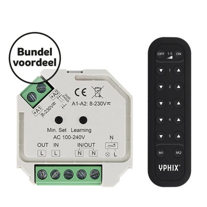 Draadloze LED dimmer 230V complete set incl. 5 zone RF afstandsbediening