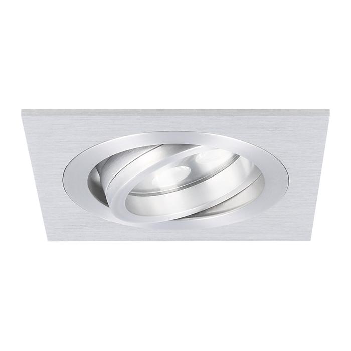 LED inbouwspot Lecco vierkant 5W 2700K aluminium IP65 dimbaar kantelbaar