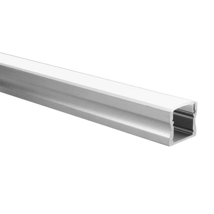 LED strip profiel Potenza aluminium hoog 5m (2 x 2,5m) incl. melkwitte afdekkap