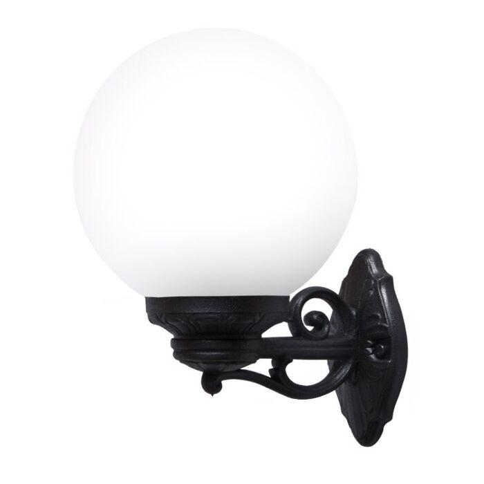 Wandlamp G250 zwart melkwit glas E27 IP55
