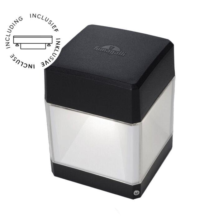 Wandlamp Elisa zwart helder glas E27 3W 3000K IP55