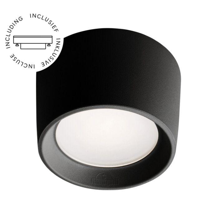 Opbouwspot Livia zwart rond incl lichtbron 230V 3W IP55 difuus glas 3000K/4000K/6500K