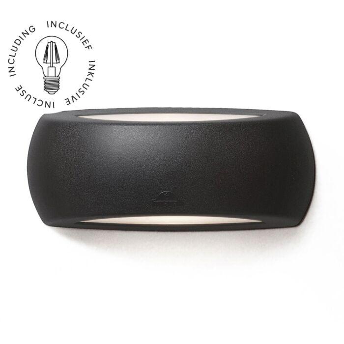 Wandlamp Francy met sensor zwart melkwit glas E27 6W 2700K IP66