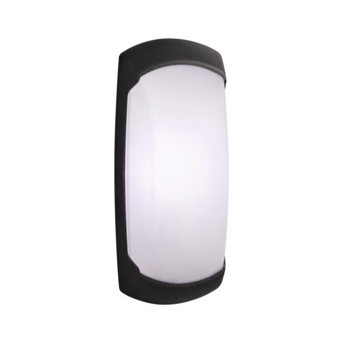 Wandlamp Francy-op zwart melkwit glas E27 IP66