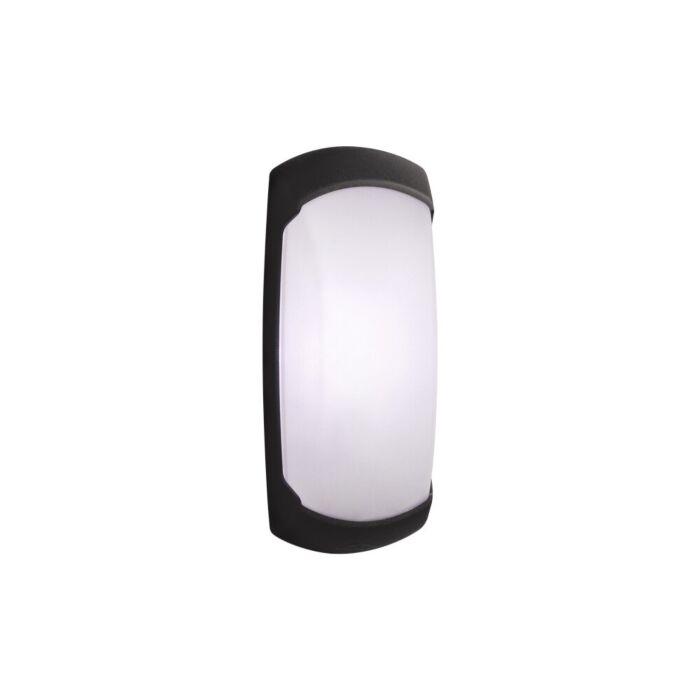 Wandlamp Francy-op zwart met sensor melkwit glas E27 IP66